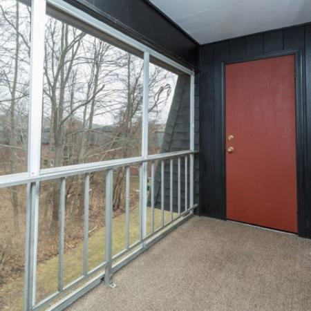 Screened in balcony with storage closet | Worcester apartments