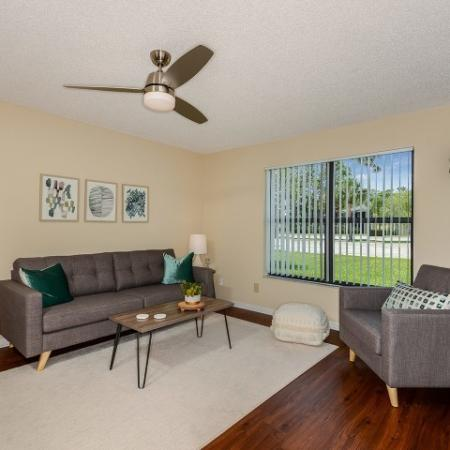 Living room with hardwood flooring | Upgraded apartment | Lakeside at Greenboro rental