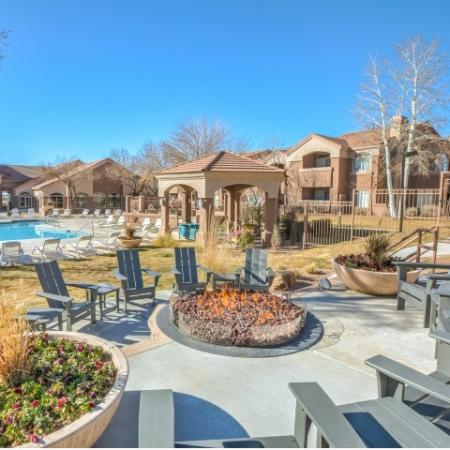 Fire pit with adirondack chairs | Altezza apartment community