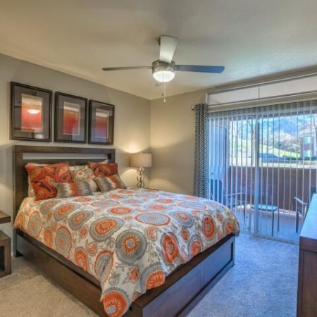Bedroom with private patio | Altezza apartments in Albuquerque