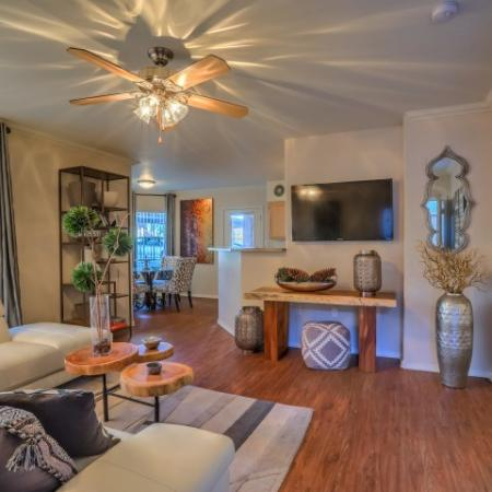 Apartment living room with hardwood floors | Albuquerque New Mexico rental