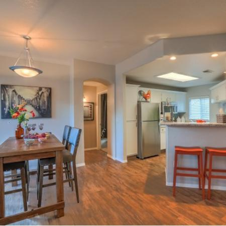 view of dining room and kitchen in Arterra apartments in Albuquerque NM