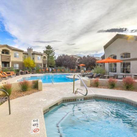 hot tub and pool at Arterra apartment complex in Albuquerque