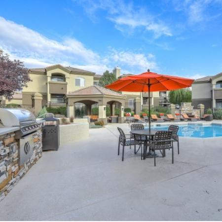 gas grills and picnic tables next to pool at Arterra apartment community