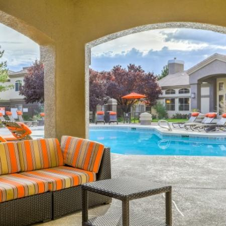 covered poolside seating | Arterra apartments