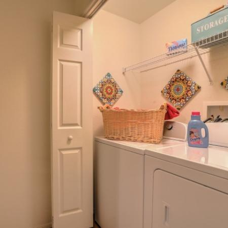 in-unit washer and dryer in closet | Arterra apartments in Albuquerque