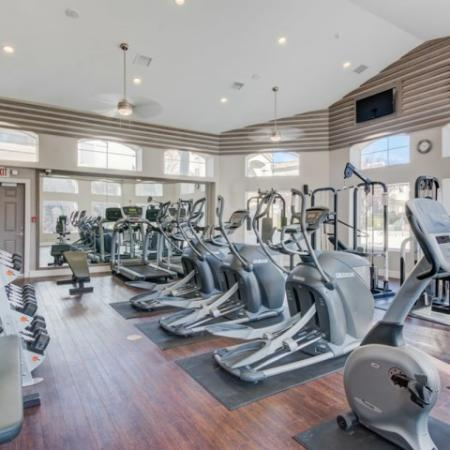apartment gym with cardio equipment