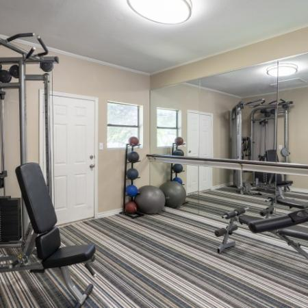 Fitness center with weight equipment | Canyon Creek in Austin