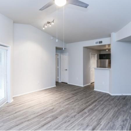 Renovated living room with wood flooring | Austin apartment