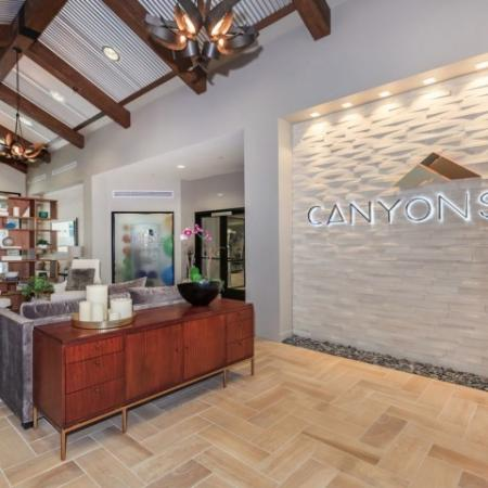 Welcome area in leasing center at The Canyons at Linda Vista Trail