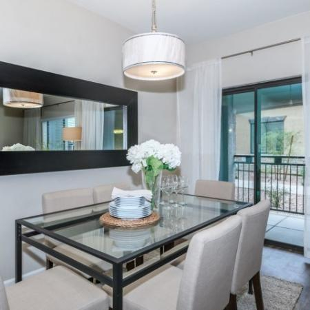 Dining room with sliding glass door to private patio | Oro Valley rentals