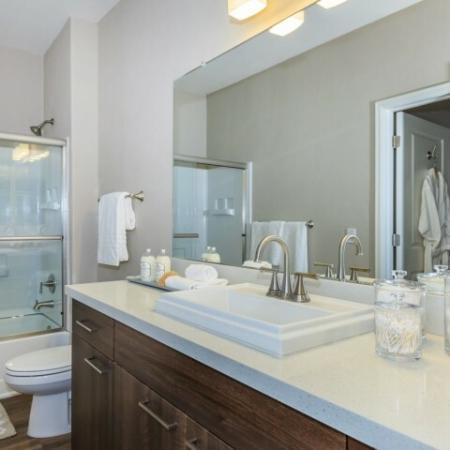 Bathroom of Peralta floor plan | Canyons at Linda Vista Trail apartments