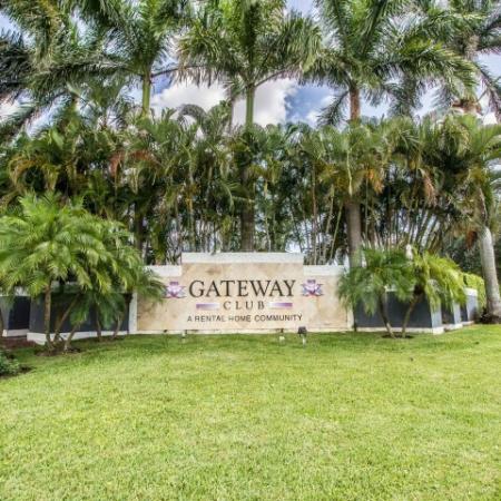 Entrance monument at Gateway Club | Boynton Beach rental home community