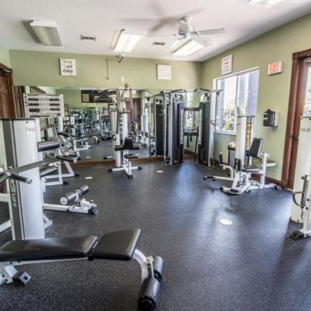 Fitness center with cardio and weight equipment at Boynton Beach apartment complex