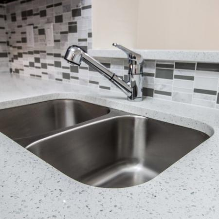 Apartment kitchen with undermount two basin sink