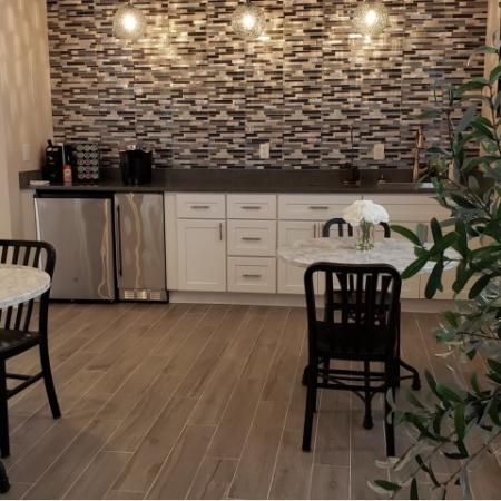 Clubhouse coffee bar with seating | Bay Harbor apartments