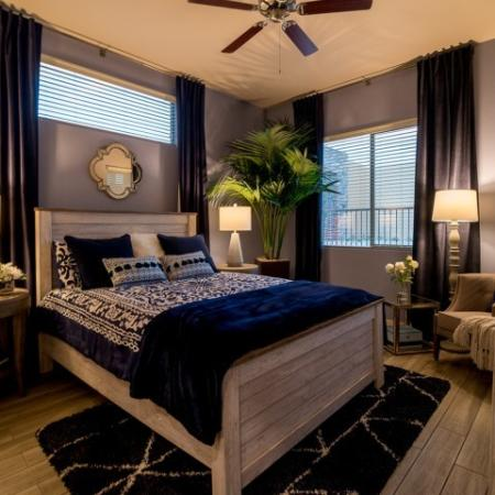 master bedroom with ceiling fan | Tucson AZ apartment