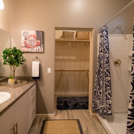 bathroom with step in shower | Pima Canyon apartment