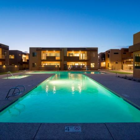 apartment pool at night | Pima Canyon apartments in Tucson