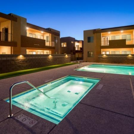nighttime view of spa | Pima Canyon apartment