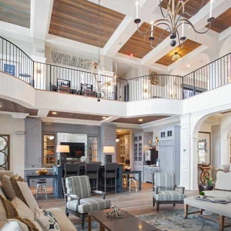 Wharf 7 clubhouse | living room lounge | craftsman style decor