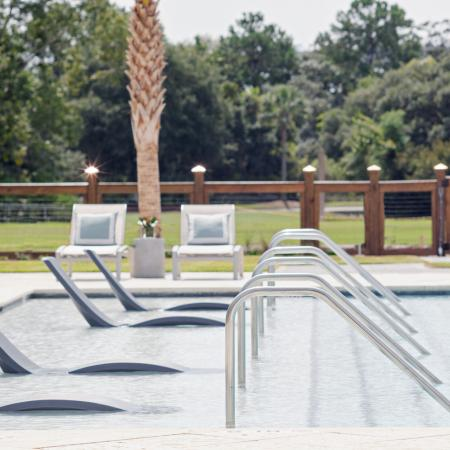 poolside tanning ledge | apartment community pool | Charleston SC