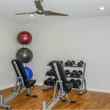 Free weights in our fitness center, with exercise balls, and a fan | Jupiter Isle