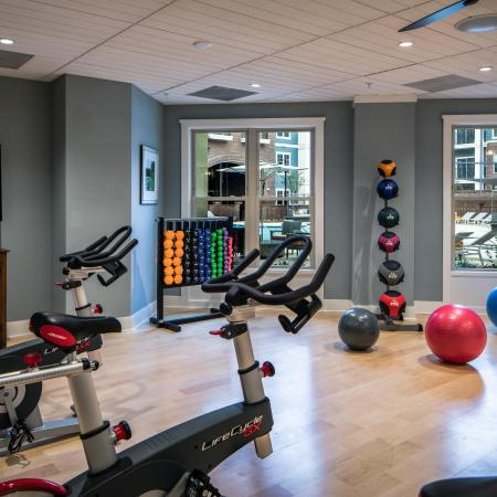 Fitness center | spinning bikes and free weights | The Standard apartment complex