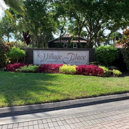 Village Place apartment homes entrance monument sign