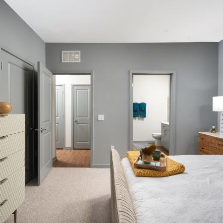 bedroom with direct access to bathroom | Sarasota rental | The District at Rosemary