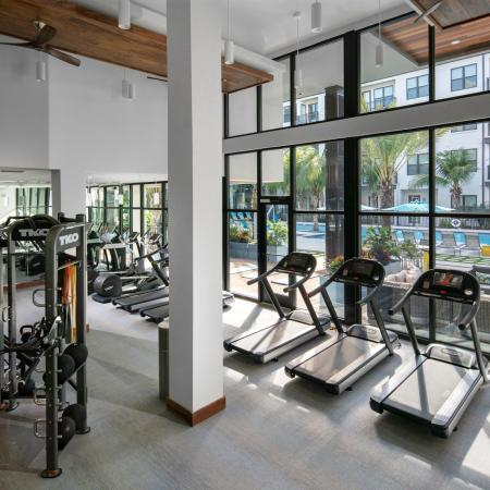 Fitness center with cardio and weight machines and free weights | The District at Rosemary