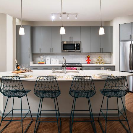 kitchen with eat in island | Rosemary district apartments | Sarasota