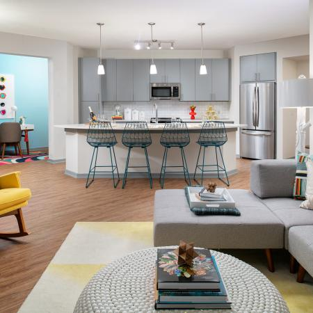 Open floor plan with living room and eat-in kitchen | 1 bedroom apartment | District at Rosemary | Sarasota