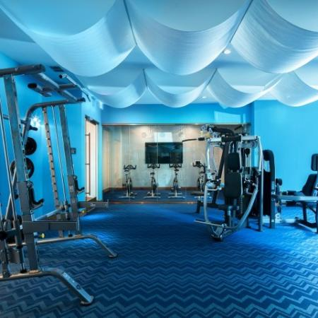 fitness center with weight machines and cycling | The district at rosemary