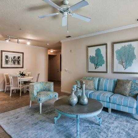 carpeted living room | Yacht Club apartments | Heritage Harbor