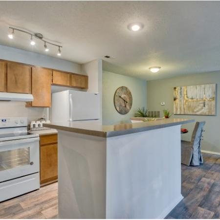 Kitchen with blonde cabients, dark countertops and gas range | River Birch apartment