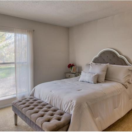 Apartment bedroom with carpet and ceiling fan | River Birch apartments
