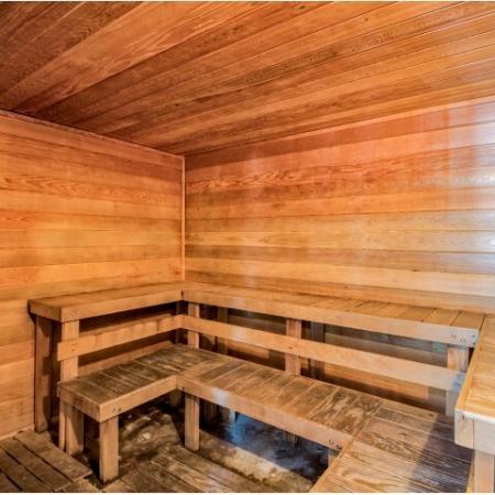 Interior of sauna at River Birch apartment complex