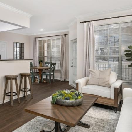 Apartment living room and dining room | Lodge at Lakeline