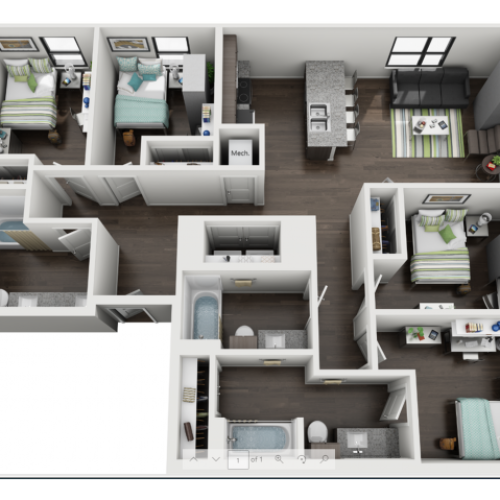 4 Bedroom Floorplan at Skyloft