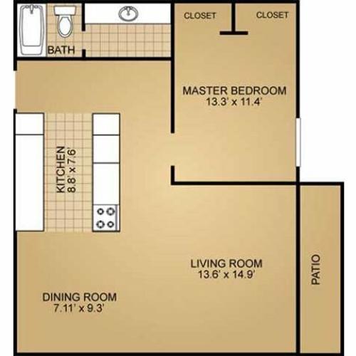 1 Bedroom Floor Plan | Ridge View