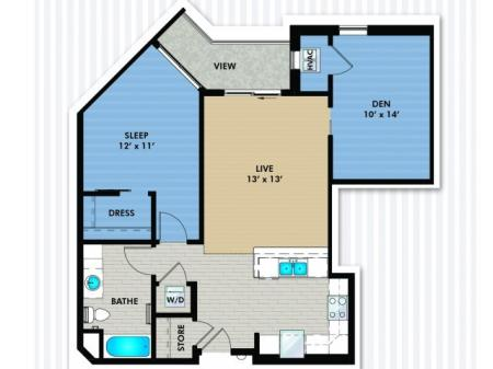 1 Bedroom Floor Plan | The Woodlands Apartments