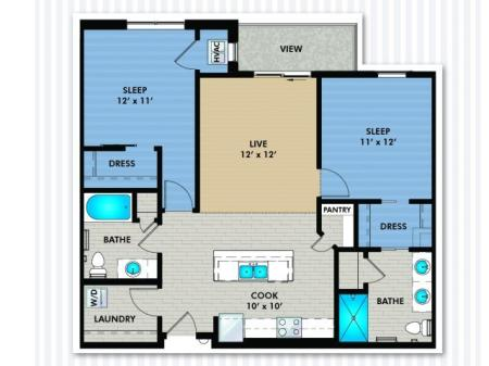 2 Bedroom Floor Plan | The Woodlands Apartments
