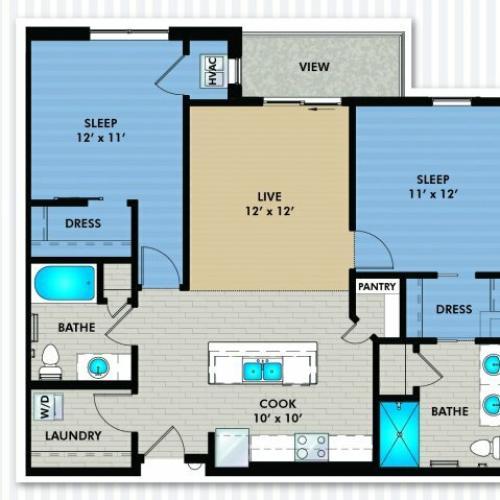 2 Bedroom Floor Plan   The Woodlands Apartments