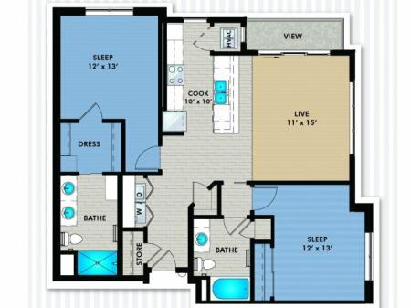 2 Bedroom Floor Plan | The Woodlands Apartments 2