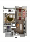 Studio Floor Plan 1 3D | Madison WI Apartments | 22 Slate
