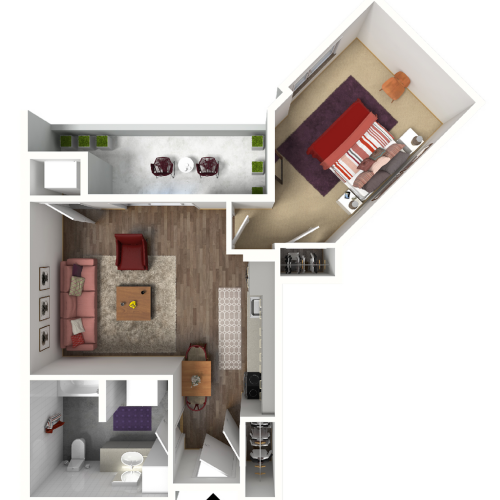 Studio Floor Plan 3 3D | Madison WI Apartments | 22 Slate