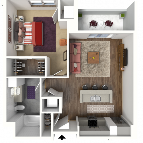 1 Bedroom Floor Plan 3 3D | Luxury Madison Apartments | 22 Slate