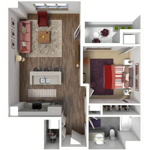 1 Bedroom Floor Plan 5 3D | Luxury Madison Apartments | 22 Slate