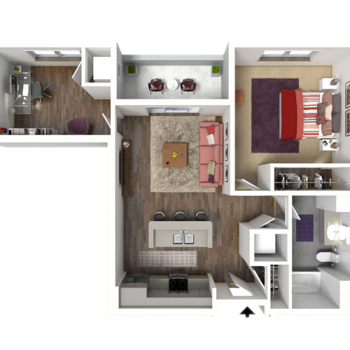 1 Bedroom Floor Plan 6 3D | Luxury Madison Apartments | 22 Slate
